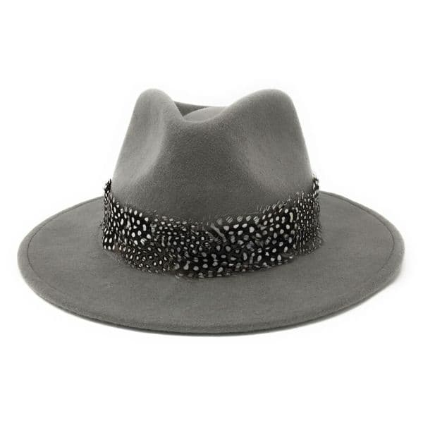 Womens Showerproof Wool Grey Fedora Hat with Country Feather Wrap Trim - Charingworth